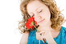 Free Young Blond Holding A Red Flower Royalty Free Stock Photography - 8159997