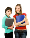 Free Two Girls With Folders; Isolated On White Stock Photography - 8162682