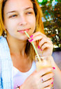 Free Woman Drinking Cocktail With Straw Stock Image - 8162751