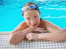 Girl Portrait After Swim Stock Photos