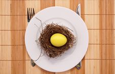 Free Gold Egg In A Nest Served On A Plate Royalty Free Stock Photo - 8160875