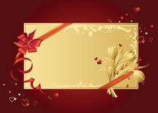 Free Celebratory Card, With Red Ribbon And Flowers Royalty Free Stock Photo - 8161845