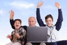 Free Grandfather, Grandsons And Notebook Stock Image - 8163351