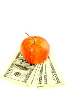 Free Banknotes Of Dollars And Apple Isolated On A Whit Royalty Free Stock Photos - 8163548