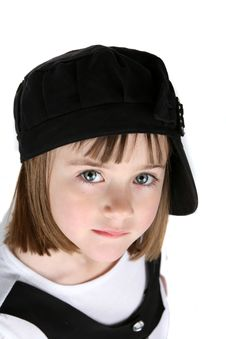 Free Cute Young Girl In Black Hat Turned Sideways Royalty Free Stock Images - 8163549