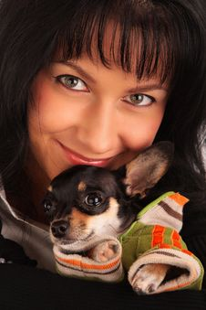 Woman With A Little Dog Royalty Free Stock Image