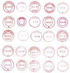 Free Red Circular Postage Stamps Royalty Free Stock Photography - 8164487