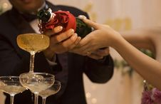 Champagne Pouring Royalty Free Stock Photography