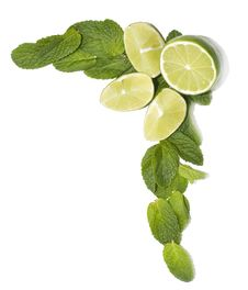 Free Limes With Mint Leaves, Decoration Element Royalty Free Stock Images - 8165399