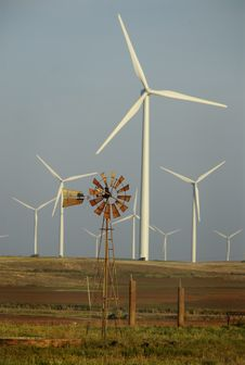 Free Windmill Surrounded By Wind Turbines Stock Photography - 8169622