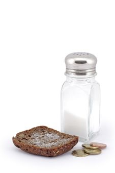 Free Bread With Salt And Coins. Stock Photos - 8170563