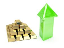 Free Gold Symbol And Up Arrows Stock Images - 8170614
