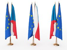 Flags Of EU And The Czechia Royalty Free Stock Photo