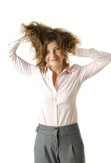 Free Young Businesswoman Messing Her Hair Stock Photos - 8171103