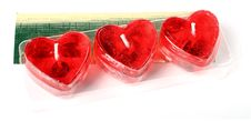 Row Of Red Heart Candles Royalty Free Stock Image