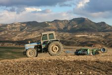 Free Tractor Plowing Extremely Dry Land Stock Image - 8171321