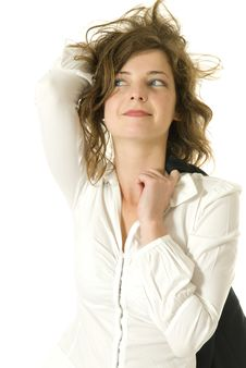 Young Woman With Messed Hair Royalty Free Stock Images