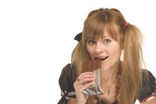 Free The Girl With Chocolate Stock Photo - 8173660