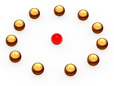 Free Gold Spheres Laid Out On A Circle. Royalty Free Stock Images - 8173919