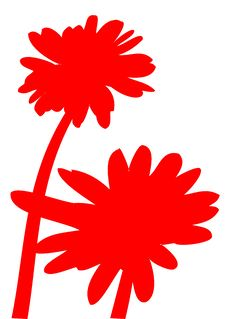 Free Red Daisy Silhouettes Stock Image - 8174091