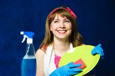 Free Young Housewife Washing The Dishes Royalty Free Stock Photography - 8176187