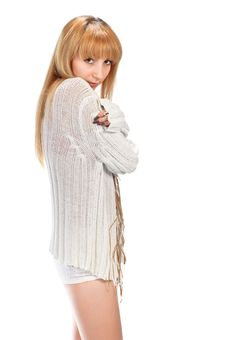 Free Blond Girl In White Stock Photography - 8176742