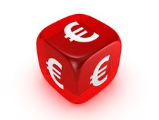 Free Translucent Red Dice With Euro Sign Royalty Free Stock Images - 8177219