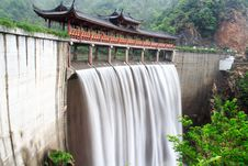 Free Chinese Temple With Waterfall Royalty Free Stock Photo - 8177245