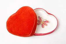 Free Opened Lovely Heart Shaped Box With Gift Royalty Free Stock Photography - 8178477