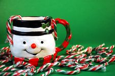 Free Snowman And Candy Canes Stock Images - 8178744