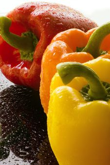 Three Bell Peppers On Wet Surface Royalty Free Stock Photography