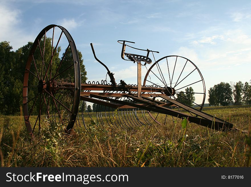 Vintage Tractor rake for collecting hay