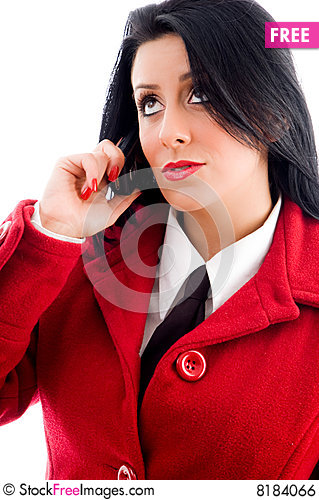 Free Young Woman Talking On Phone And Looking Upwards Royalty Free Stock Image - 8184066