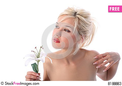Free Girl With Madonna Lily Stock Photos - 8188883