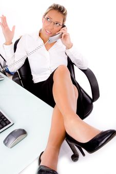 Free Close Up Of Manager Busy On Phone Stock Images - 8180694