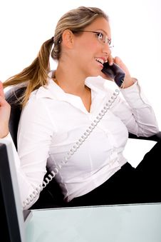 Free Side View Of Businesswoman Talking On Phone Royalty Free Stock Image - 8180706