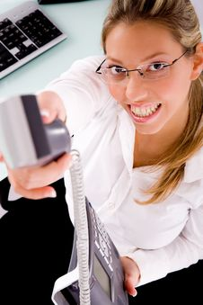 Free Top View Of Smiling Businesswoman Offering Call Stock Photography - 8180712