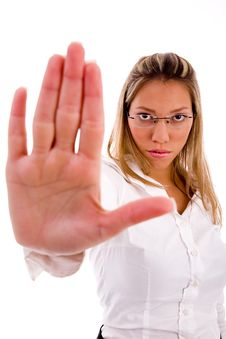 Free Businesswoman Showing Stopping Gesture Stock Photo - 8180780