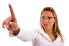 Free Portrait Of Businesswoman Pointing Up Royalty Free Stock Photography - 8180807