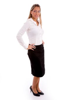 Side View Of Young Businesswoman Looking At Camera Royalty Free Stock Photography