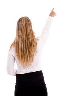 Free Back Pose Of Pointing Businesswoman Stock Photography - 8180872