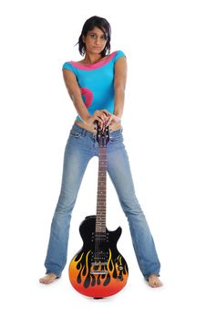 Free Holding Guitar And Looking Seriously Stock Image - 8181721