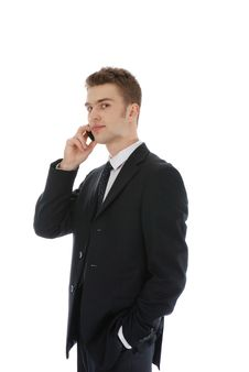 Young Confident Businessman Calling Over The Phone Royalty Free Stock Photos