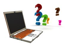 Modern Laptop With Question-marks Royalty Free Stock Image
