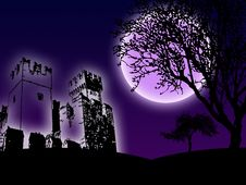 Free Castle In The Night Stock Image - 8181911
