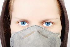 Free Girl Wearing A Respirator Stock Photo - 8182820