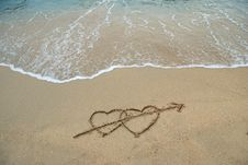 Free Hearts On The Beach Royalty Free Stock Image - 8183066