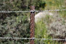 Free Two Strands Of Barbed Wire Fence Stock Image - 8183181