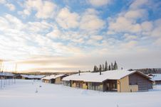 Cottages In Winter Royalty Free Stock Images