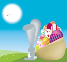 Free Bunny Carrys Sack Full Of Eggs Royalty Free Stock Image - 8183546